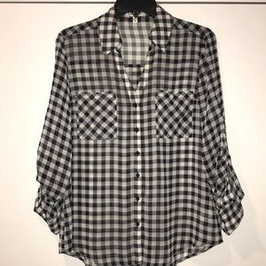 Express black & white long sleeve blouse, size M